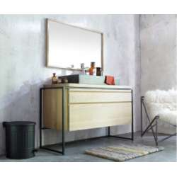 Meuble simple vasque BELT 114 cm Chêne Massif