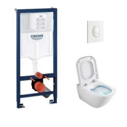 Pack WC Grohé Rapid SL Mural + Cuvette GAP Cleanrim ROCA + Plaque Blanche