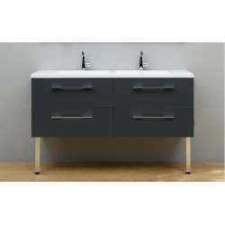 Meuble double vasque SATURN 140 cm Gris Brillant - Différents versions