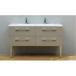 Meuble double vasque SATURN 140 cm Taupe Brillant*