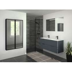 Meuble double vasque SWING 120 cm 4 tiroirs Opale Anthracite