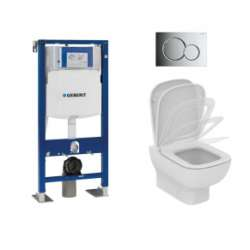 Pack WC GEBERIT UP320 + Cuvette KHEOPS Aquablade + Plaque Chromé Brillant