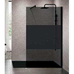 Paroi de douche Fixe KUADRA H FUME Bande noire 120 cm - Profilé Noir
