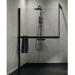 Système de fixation KIT-FRAME - Fixation au mur à Gauche + Porte-serviette - Noir