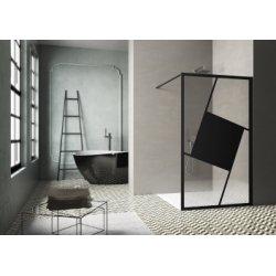 Paroi de douche sérigraphiée MOSAIC A Noir mat 100 cm