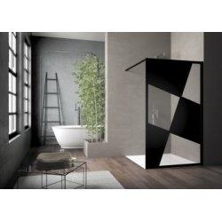 Paroi de douche sérigraphiée MOSAIC B Noir mat 100 cm