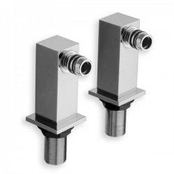 Paire de colonnettes QUADRI carrée - Hauteur 80 mm - Chromée