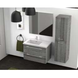 Meuble simple vasque 77 Jupiter 2.0 Bois Gris Scié SANS miroir**