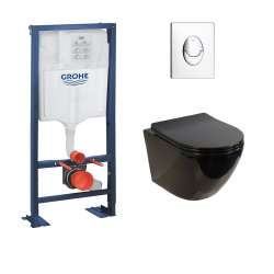 Pack WC Grohe Rapid SL + Cuvette sans bride KELOS Noir Brillant + Plaque Skate Air Chromé