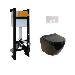 Pack WC Bâti-support Evo + Cuvette sans bride KELOS Noir Brillant + Plaque Blanche