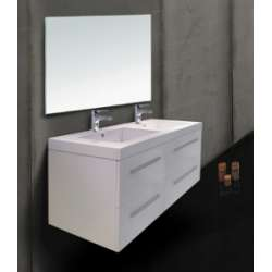 Meuble double vasque SATURN 140 cm Blanc Brillant*