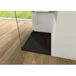Receveur KINESURF+ Noir Mat - Bonde centrée sur la longueur - 90x70 cm