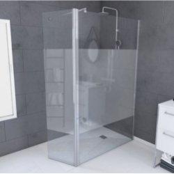 Paroi de douche WILSON avec volet pivotant - Bande dépolie - L90+45 cm**