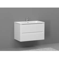 Meuble simple vasque 80cm TOOLA Blanc Brillant
