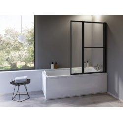 Pare-baignoire pliant et relevable SECURE Noir - 2 volets