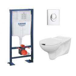 Pack WC Grohe Rapid SL + Cuvette PMR + Plaque Chromé