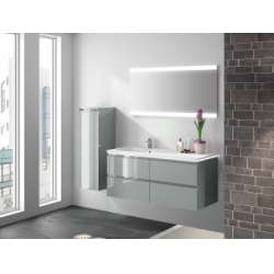 Meuble simple vasque décalé GLOSS 120 cm Feutrine Brillant