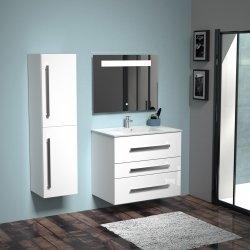 Meuble TRIO 80cm Blanc Brillant avec miroir Kathy