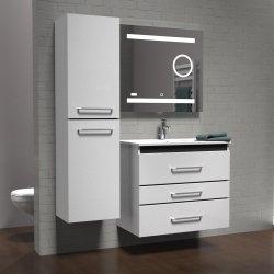 Meuble PRESTIGE 3 tiroirs 80cm - Blanc brillant - SANS miroir