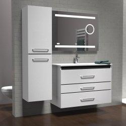 Meuble PRESTIGE 3 tiroirs 100cm - Blanc brillant - SANS miroir