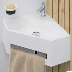 Lave-mains d'angle ANGO avec porte serviette intégré