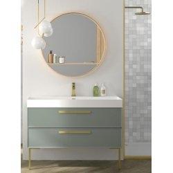 Meuble simple vasque 120cm EDGE Amande Mat et Gold mat