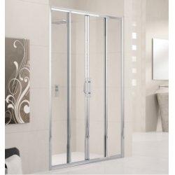 Porte de douche à 4 panneaux Lunes 2A 130cm Transparent Silver