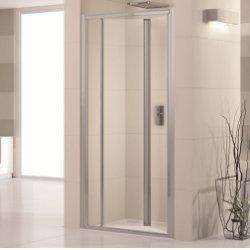 Porte de douche pliante à 2 volets Lunes S 60cm Transparent Silver