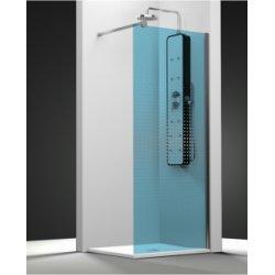 Paroi de douche fixe ONE verre bleu sablé dégradé 30cm droite