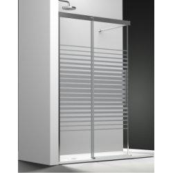 Paroi fixe + coulissant verre transparent sablé Medium 100cm Droite