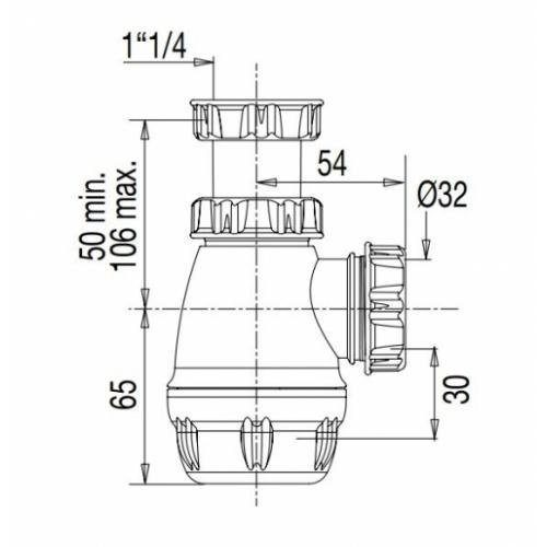 Siphon lavabo plat PVC 6153 6153 cote