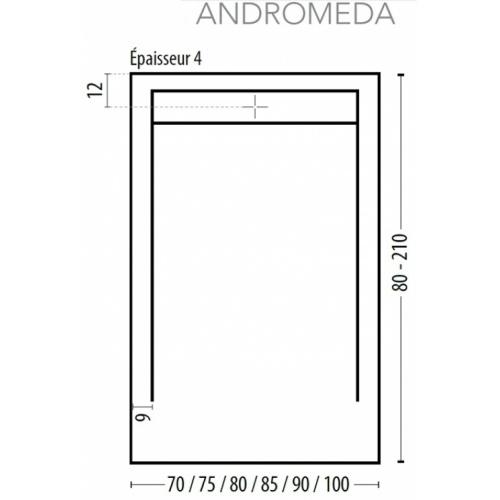 Receveur de douche écoulement linéaire Andromède Ciment 70x80 Andromède cote