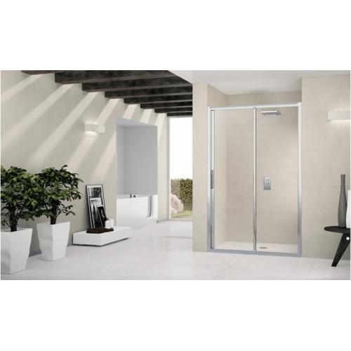 Porte de douche à 2 panneaux Lunes 2P 130cm Transparent Silver Lunes 2p silver