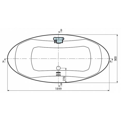 Baignoire ilot nue ELYSIUM X1 Basic X schéma