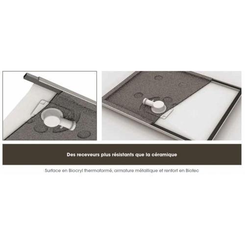 Receveur rectangle 70x120 en Biocryl Kinesurf Blanc LA Caractéristique 2