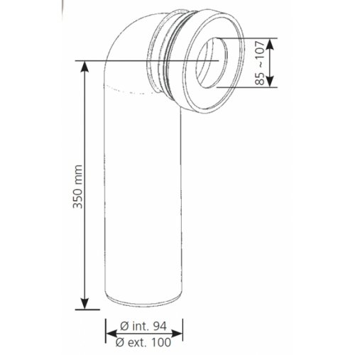 Pipe de raccordement coudé diamètre 100 P 100 schéma