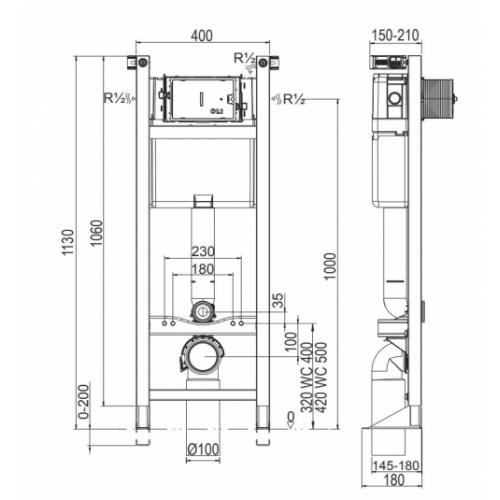 Ensemble bâti-support EVO + cuvette GAP+ plaque blanche Bati evo schéma