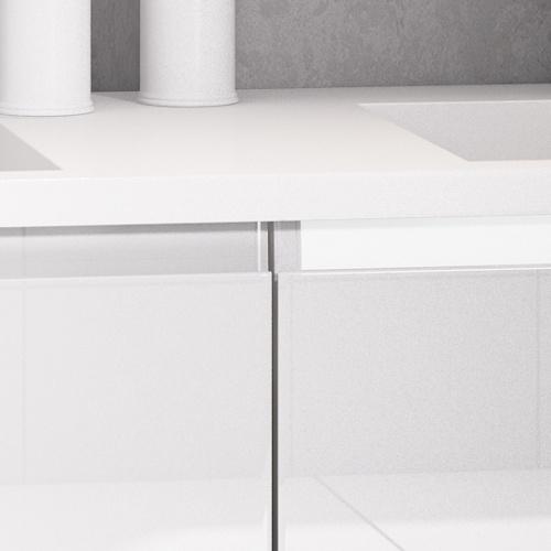 Meuble double vasque VOGUE/LOFT 140 Boréale Blanc Vogue prise de main laque blanc brillant zoom