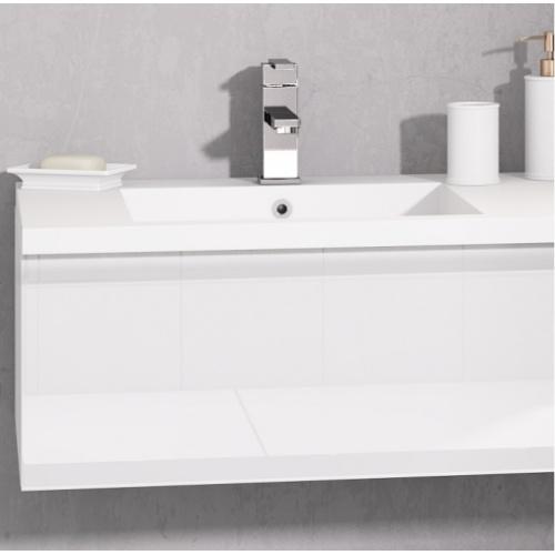Meuble double vasque VOGUE/LOFT 140 Boréale Blanc Vogue prise de main laque blanc brillant zoom 2