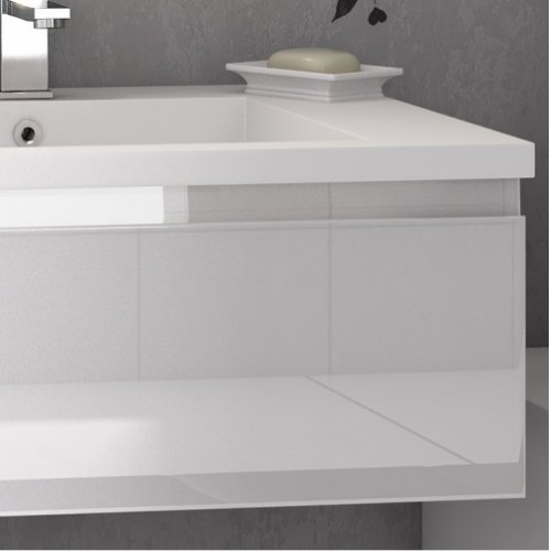 Meuble double vasque VOGUE/LOFT 140 Boréale Blanc Vogue prise de main laque blanc brillant zoom 3