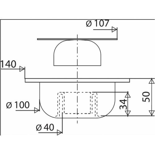 Bonde de sol carrée sortie verticale 140x140mm - 462300 462300 cote