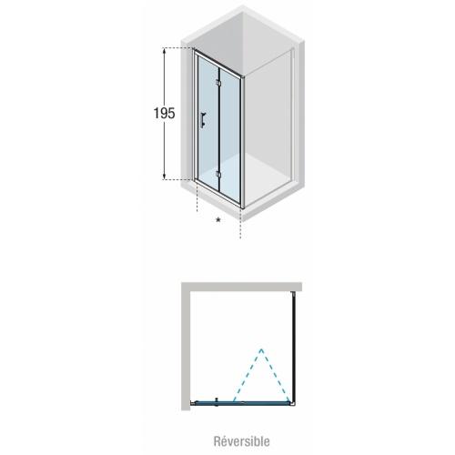Porte pliante Zephyros S 70cm verre Transparent, profilé Silver Zephyros s schéma