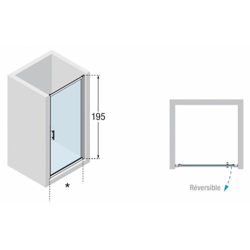 Porte pivotante Zephyros G 70cm verre Transparent, profilés Silver Zephyros g schéma