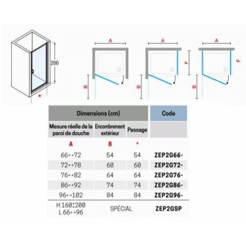Porte pivotante Zephyros G 70cm verre Transparent, profilés Silver Zephyros g tableau