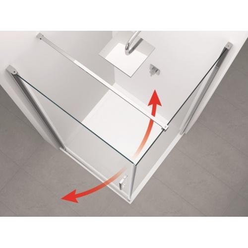 Paroi d'angle Young 2.0 GS+F gauche 80x80cm Transparent Silver 0 ouverture intérieur extérieur