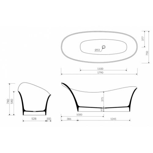 Baignoire ilôt Design CEDAM 180x75 Amon Cedam amon 180x75 cotes 2017