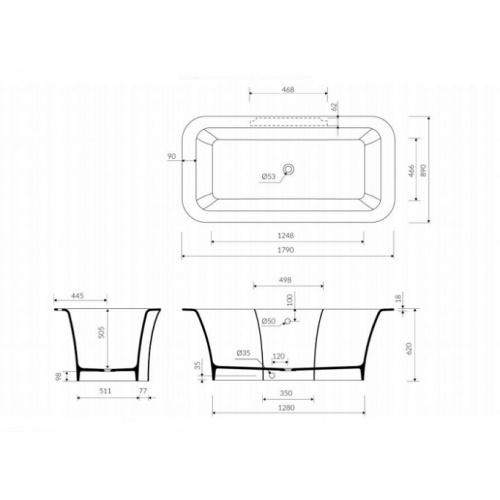 Baignoire ilôt Design CEDAM 180x90 Triton Cedam triton schéma
