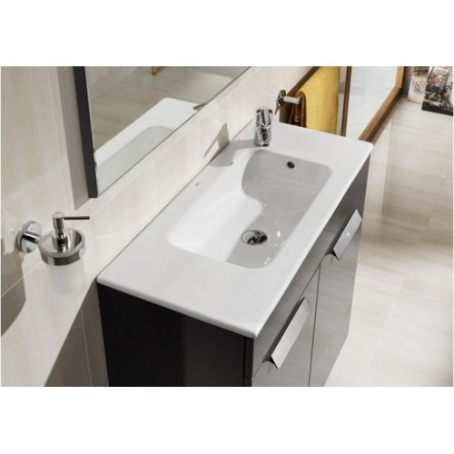 Meuble simple vasque Debba Compact 50cm Wengé 2 portes Debba compact anthracite dessus