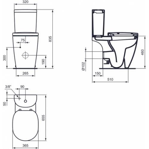 Pack WC à poser surélevé sortie horizontale Connect Freedom - Réservoir Arc Wc surélevé connect freedom cote