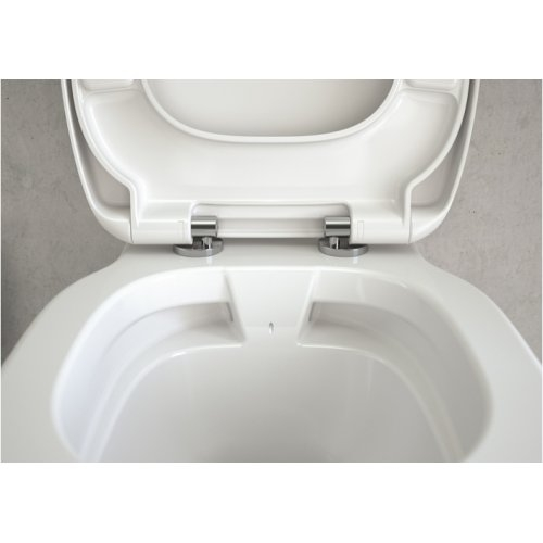 Pack WC Bâti-support Evo + Cuvette sans bride Connect + Plaque Blanche Is connect e8174 ambcu nn rimless;front+view;close up